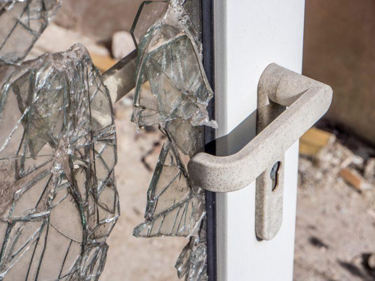 broken glass door burglary